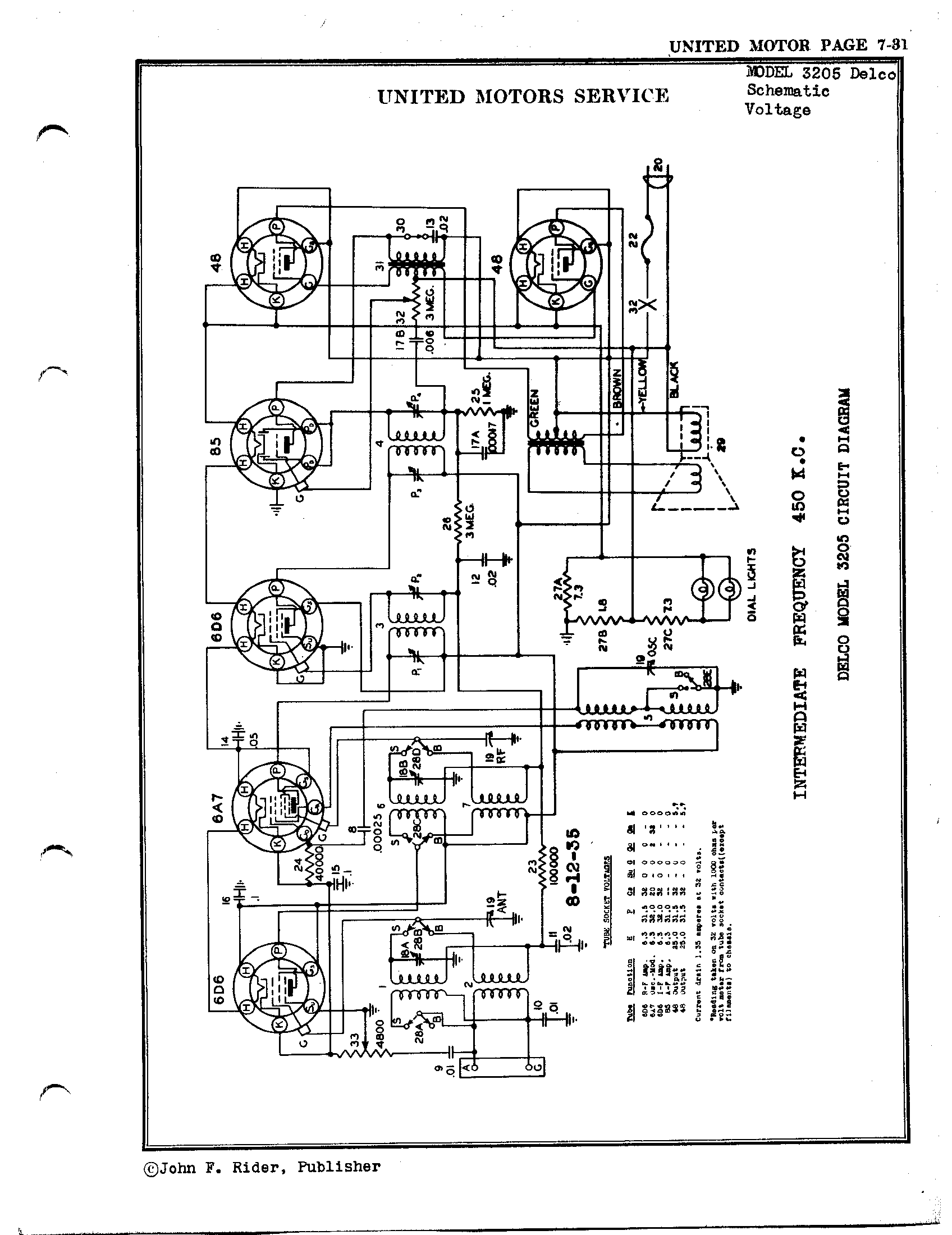united motors service - delco 3205 delco | antique electronic supply gm delco radio wiring diagram 2004 delco radio wiring diagram circuit board #2