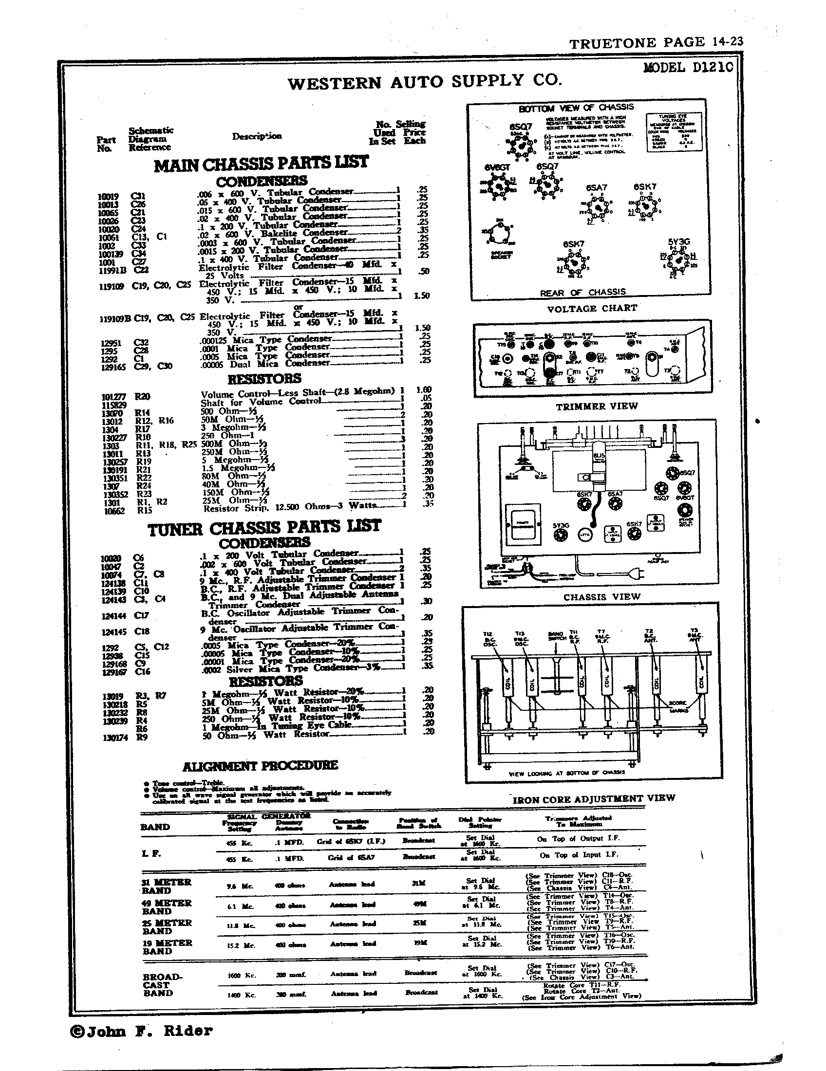 western auto supply co  d1210