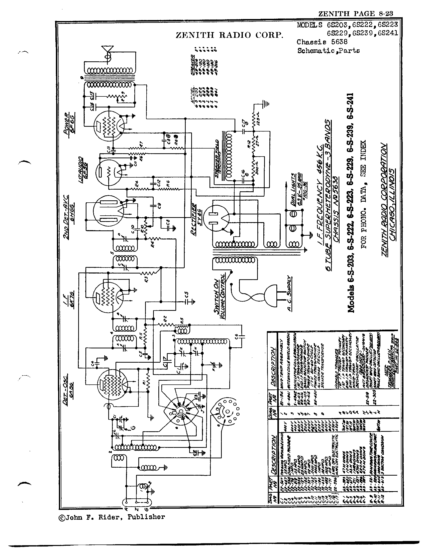 zenith radio corp  6s203