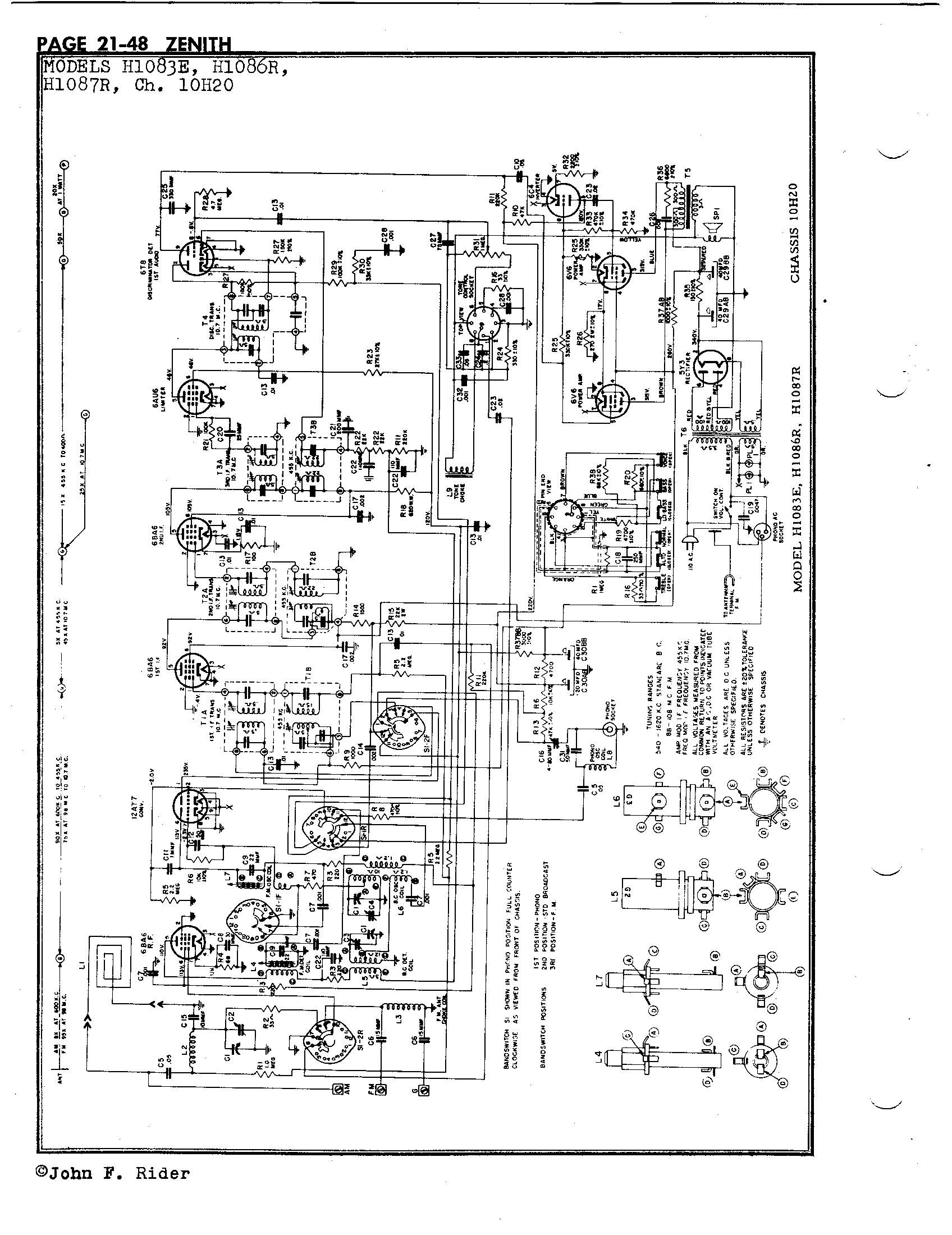 zenith radio corp  h1086r