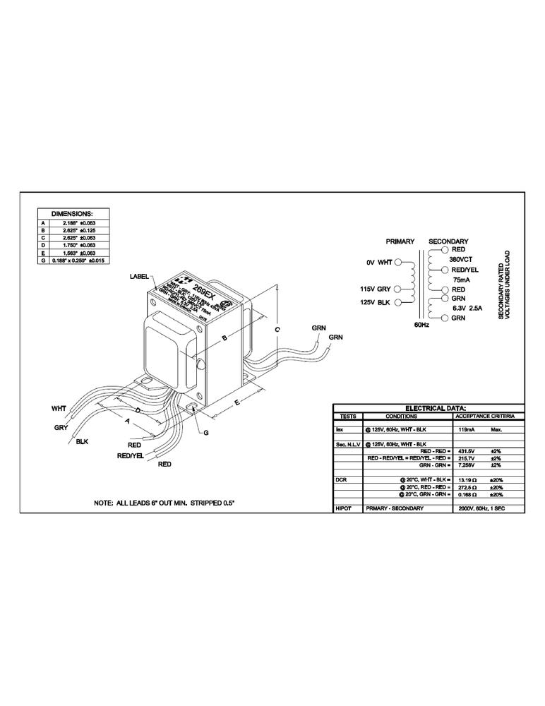 Transformer Hammond Power 190 0 190 V 71 Ma Antique