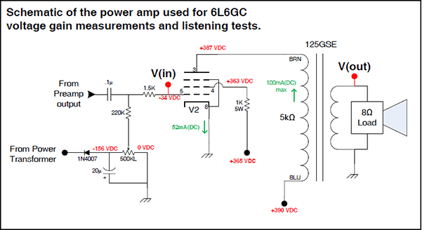 Tech Corner Image - 6l6gc Voltage Gain Schematic