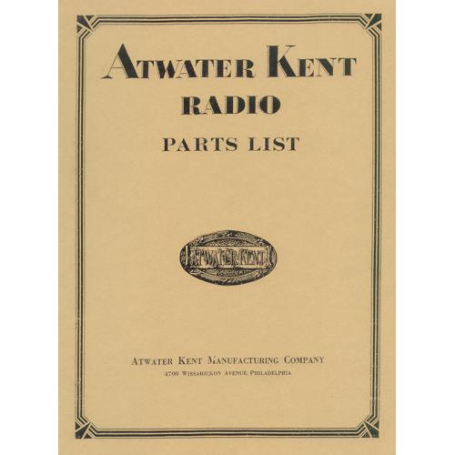 Atwater Kent Radio Parts List image 1