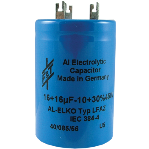 Capacitor - Electrolytic, 16/16 µF @ 450 VDC, F&T image 1