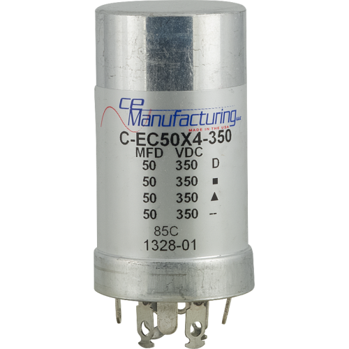 Can Capacitor, Multi-section, 50/50/50/50uF 350VDC, CE Manufacturing image 1