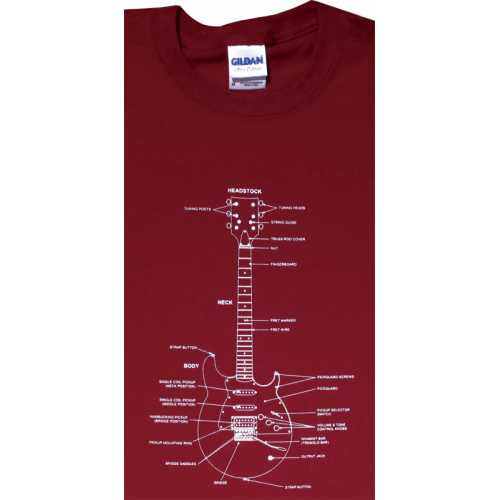 Shirt - Cardinal Red with Guitar Diagram image 1