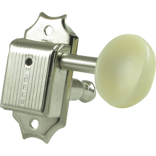 Tuner - Kluson, plastic, 3 per side, nickel/white image 1