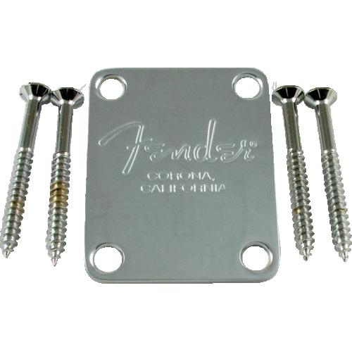 Neck Plate - Fender®, for American Standard Bass, Chrome image 1