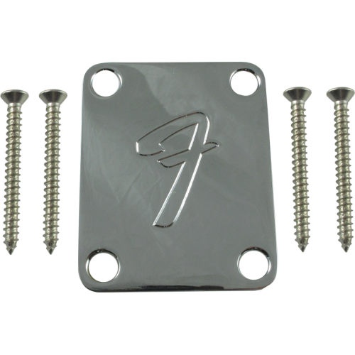 "Neck plate, Fender® chrome 4-bolt 70s ""F"" style image 1"