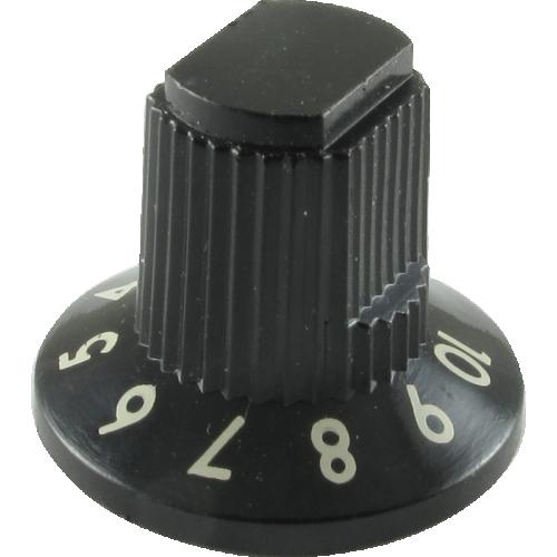 Knob - Fender®, Skirted Roc Pro, Black, Set Of 6 image 1