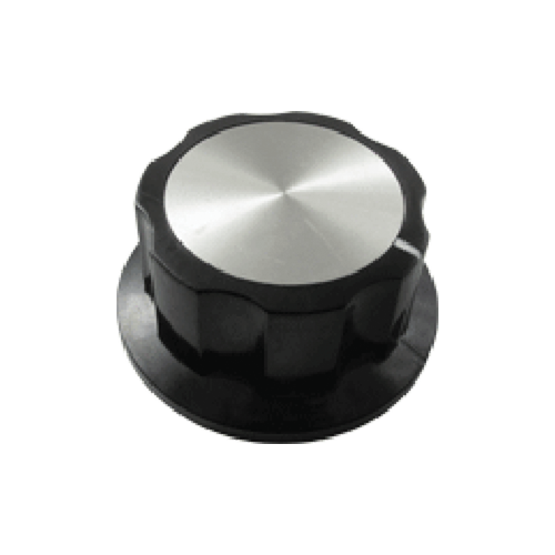 Knob - Black, White Line, Silver Top, Set Screw, 6.4mm Inset image 5