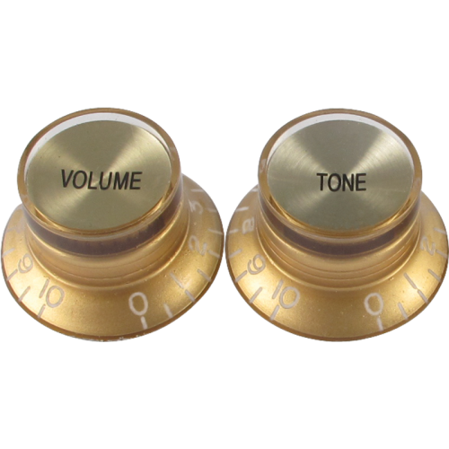 "Knob, vintage ""Top Hat"", gold with gold top (2 tone/2 volume) image 1"