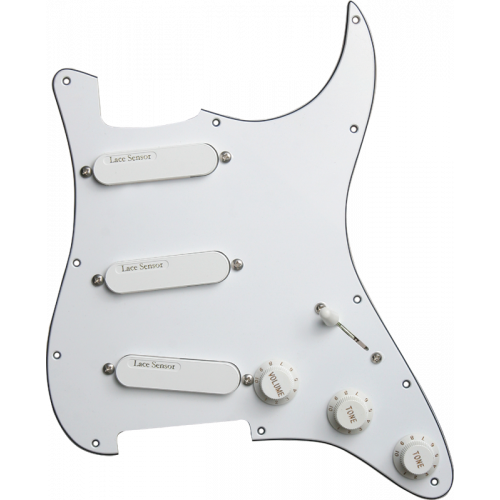 Loaded Pickguard - Lace, White, Loaded with 3 Gold Lace Sensors image 1