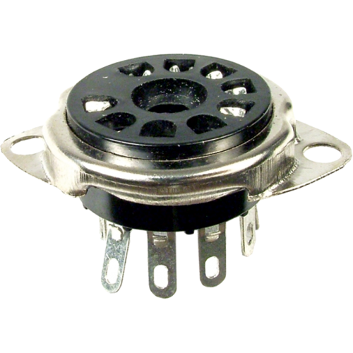 "Socket - 9 Pin, 3/4"" Chassis Hole, 1-1/8"" Mounting Centers image 1"
