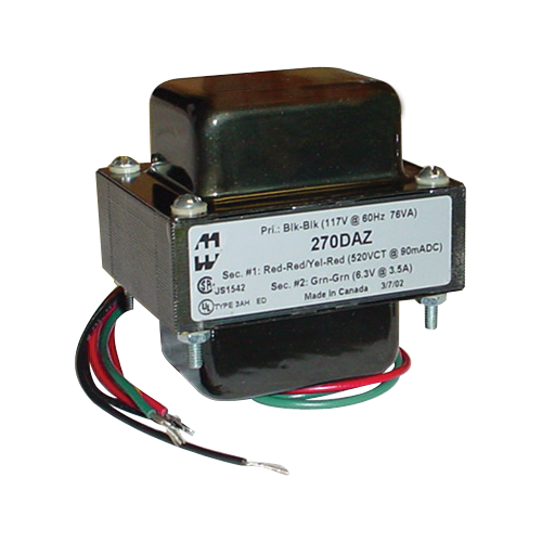 Transformer - Hammond, Power, 260-0-260 V, 104 mA, Horiz. mount image 1