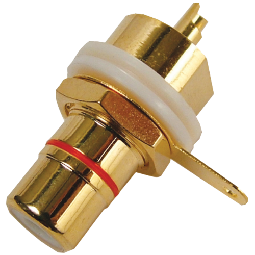 Jack - RCA Chassis Mount, Rear Mount, Gold Plated, Red image 1