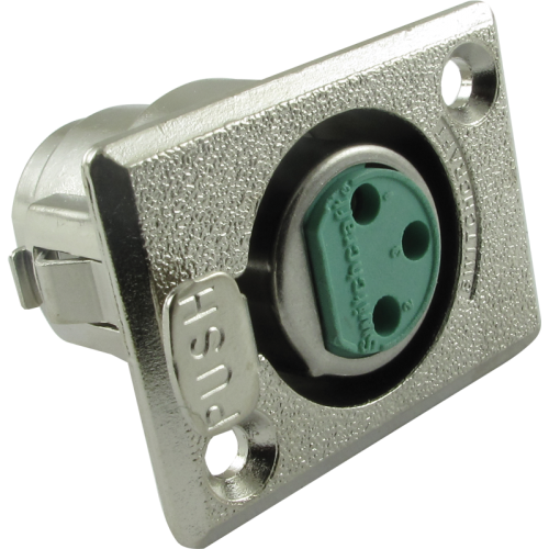 XLR 3-Pin Female Rectangular Panel Mount Receptacle (Type D3F), Switchcraft image 1