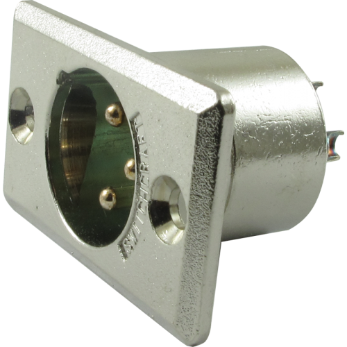 XLR 3-Pin Male Rectangular Panel Mount Receptacle (Type D3M), Switchcraft image 1