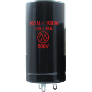 Can Capacitor - Electrolytic, 100/100 µF @ 500 VDC, JJ Electronic