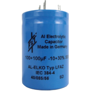 Capacitor - Electrolytic, 100/100 µF @ 500 VDC, F&T