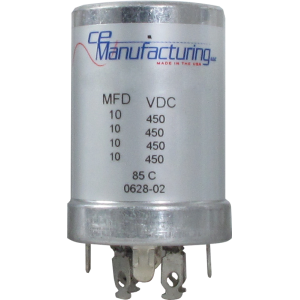 Capacitor - CE Mfg., 450V, 10/10/10/10µF, Electrolytic
