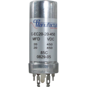 Can Capacitor, Multi-section, 20/20uF 450VDC, CE Manufacturing