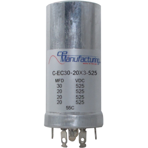 Can Cap, Multi-section, 30/20/20/20uF 525VDC, CE Manufacturing