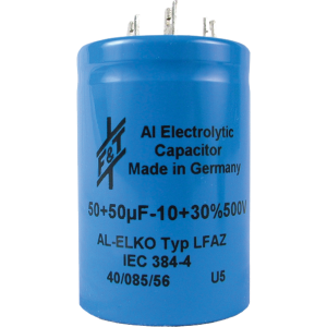 Capacitor - Electrolytic, 50/50 µF @ 500 VDC, F&T
