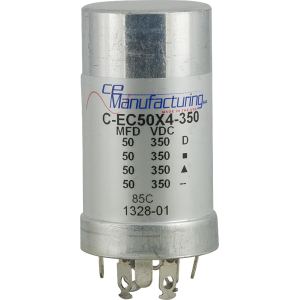 Can Capacitor, Multi-section, 50/50/50/50uF 350VDC, CE Manufacturing