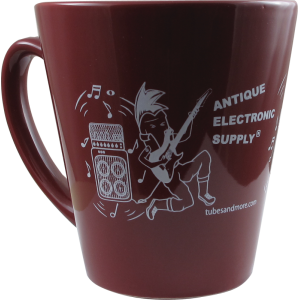 Coffee Mug, Burgundy with White AES Rocker Tube Dude, 12 oz