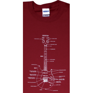 Shirt - Cardinal Red with Guitar Diagram