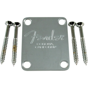 Neck Plate - Fender®, for American Standard Bass, Chrome