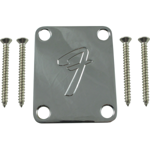 "Neck Plate - Fender®, 4-Bolt 70s ""F"" Style, Chrome"