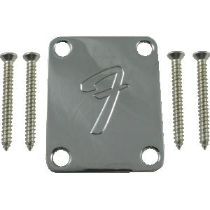 """Neck plate, Fender® chrome 4-bolt 70s """"F"""" style"""
