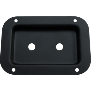 "Jack Plate - Metal. Black, 2 holes, 3.5"" x 5.13"""