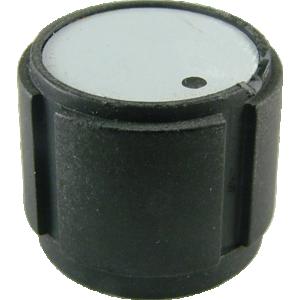 """Knob - Black Plastic, D Shaft, White/Grat Insert, 11/16"""" Dia x 9/16"""" H"""