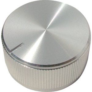 "Knob - Aluminum, Push-On, Notched Tip Indicator, 1.25"" Diameter"