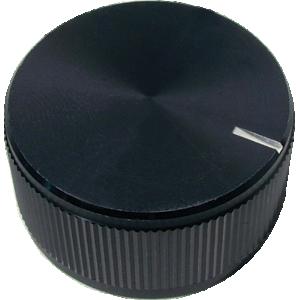 "Knob - Knurled Aluminum, Black, Notched Tip Indicator, 1.25"" Diameter"