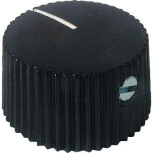Knob - Black, White Line, Set Screw