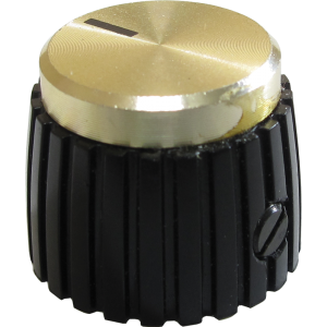 Knob - Mini Marshall Style, Black with Gold Cap