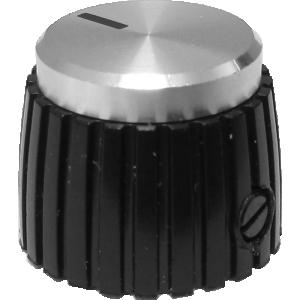 Knob - Mini Marshall Style, Black with Silver Cap