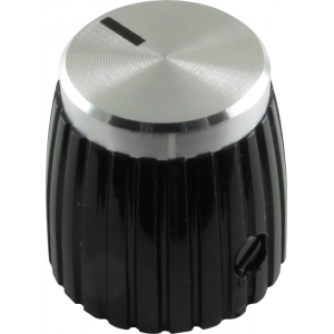 "Knob, black with silver caps, set screw ""Jubilee"" style"