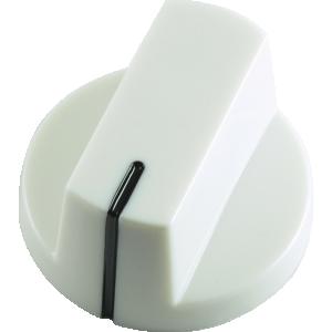 Knob - White, white line, Large, set screw