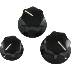 Knob - Fender®, Black J-Bass, Set Screw, Set of 3