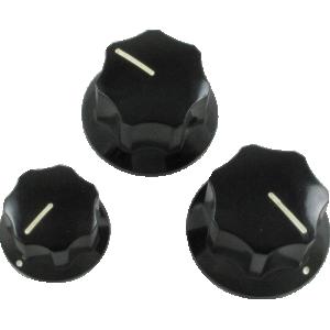Knob, Fender® J-Bass set (3 pieces), black