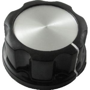 "Knob - Black with white line, Silver Top, set screw, 1.31""D, .62""H"