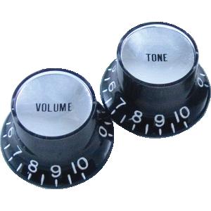"Knob, Gibson® ""Top Hat"", black/silver (2 tone/2 volume)"