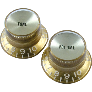 "Knob, Gibson® ""Top Hat"", gold/gold (2 tone/2 volume)"
