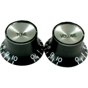 "Knob, vintage ""Top Hat"", black with chrome top (2 tone/2 volume)"