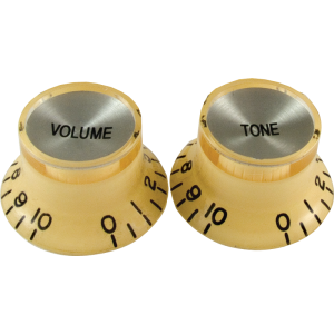 "Knob - Vintage ""Top Hat"", Cream, Chrome Top, 2 Tone, 2 Volume"